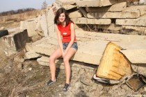 Free porn pics of Little Caprice masturbating in a wasteland 1 of 97 pics