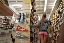 Free porn pics of SExy white girl in book store wearing some sexy pink shorts 1 of 6 pics